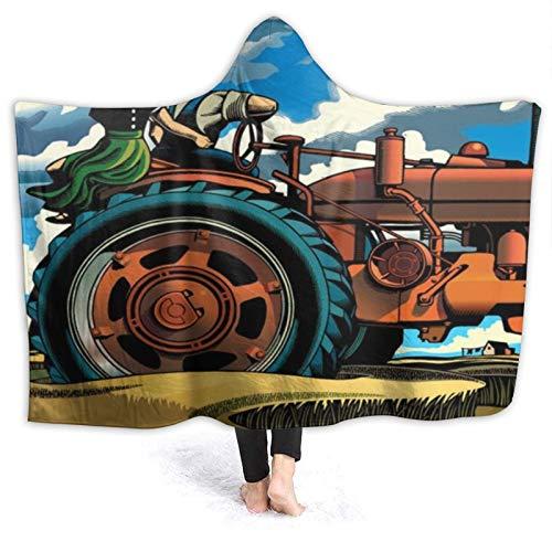 HATESAH Manta con Capucha,Tractor en Campo Rural y Pareja disfrutando del Paisaje,Suave Siesta ponible Mantas de Viaje/Vacaciones/Casual 60x50