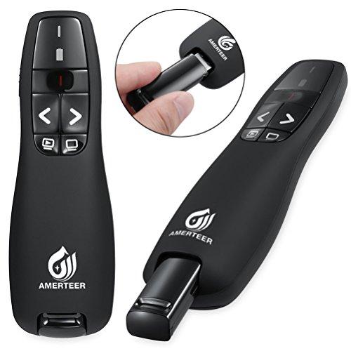 AMERTEER Wireless Presenter, 2.4GHz Powerpoint Presentation Remote Control Office PowerPoint PPT Remote Controller Clicker Flip Pen