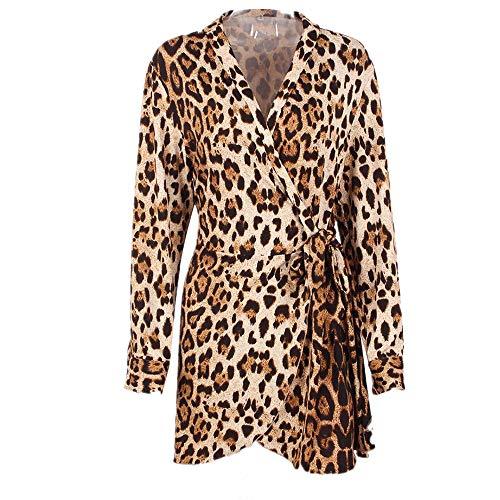 Kleider Damen V-Ausschnitt Cocktailkleid Winter Abendkleid Leopard Gedruckt Kleid Frauen...
