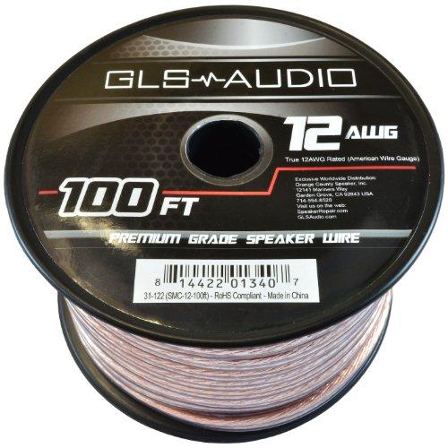 GLS Audio Premium 12 Gauge 100 Feet Speaker Wire - True 12AWG Speaker Cable 100ft Clear Jacket 100' Spool Roll 12G 12/2 Bulk