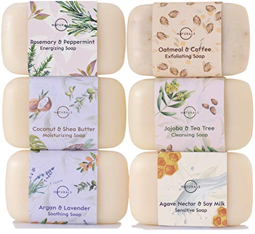O Naturals 6 Piece Moisturizing Body Wash Bar Soap Collection. 100% Natural Made w/Organic Ingredients & Therapeutic Essential Oils. Acne Face Cleanser. Vegan Gift Set Triple Milled. Women & Men 4oz