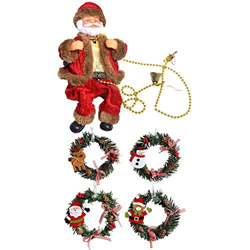 Cuasting 8 coronas de pino de Navidad para puerta delantera, decoración del hogar y 1 escalera eléctrica para colgar Papá Noel
