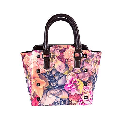 Grande borsa a tracolla in pelle PU per le donne nascoste Carry borchiato borsa a tracolla borsa bella diversi fiori