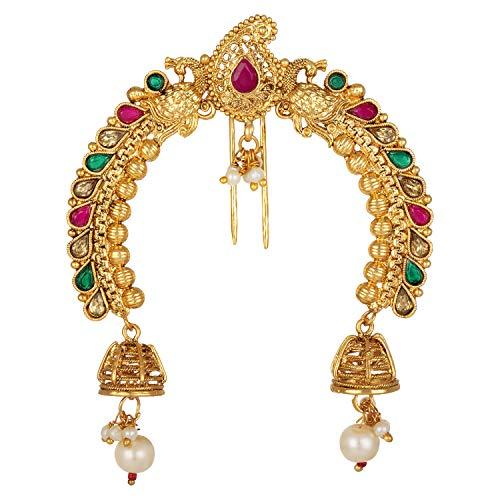 Aheli Broche de pelo con diseño de cachemira, color dorado envejecido, estilo étnico, joyería de moda para mujer