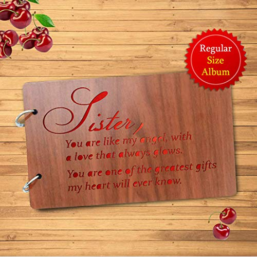 Sehaz Artworks Sister-Glows Wooden Scrapbook Photo Album for Memorable Gift on Brother, Sister,...