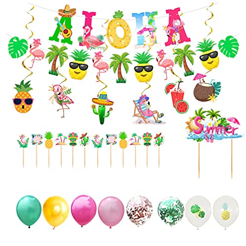 VALICLUD Hawaiian Theme Party Supplies Tropical Aloha Party Decorations Set Glittery Aloha Banner Hawaiian Balloons Summer Beach Cake Picks for Luau Birthday Decor