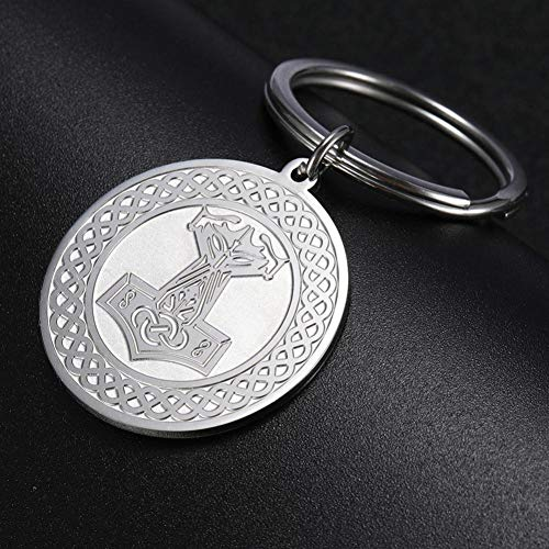 MINTUAN Viking Keyring aus Edelstahl Thors Hammer Anhänger Schlüsselhalter Schlüsselanhänger Man Schmuck