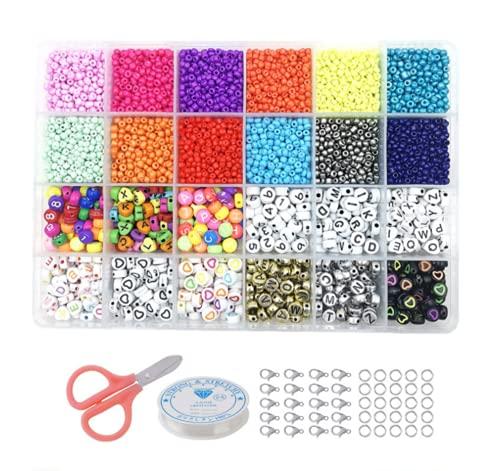 Juego de 6000 cuentas de 3 mm para enhebrar y hacer cadenas, regalo creativo para niños y adultos