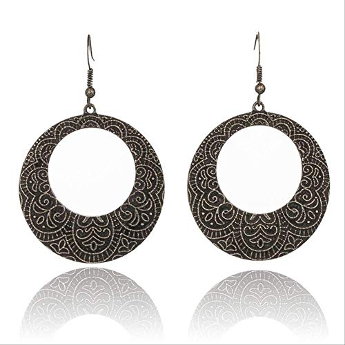 Épingles à oreilles tendance pour les femmes cadeau de vacances circulaire ornements évidés style punk gouttelettes géométriques argent Round2