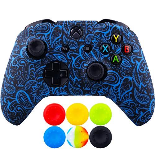 9CDeer 1 x Silicona Transferir Impresión Protector Cubrir Piel + 6 Apretones de Pulgar y Tapones a Prueba de Polvo para Xbox One/S/X Mando Follaje azul