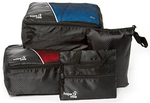 HOPEVILLE Kleidertaschen-Set 4-teilig, 2 Fahrradtaschen - Plus Packbeutel und 3-Fach Reißverschlusstasche, Premium Gepäcktaschen für perfekt organisiertes Fahrrad- oder Motorradgepäck (Schwarz)