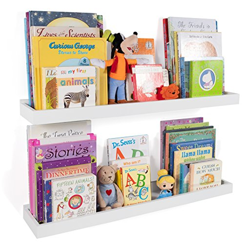 Wallniture Philly Nursery Bookshelf - Floating Book Shelves for Kids Room - 31 Inch Picture Ledge...