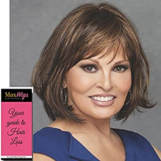 Classic Cut Wig Color RL11/25 GOLDEN WALNUT - Raquel Welch Wigs Heat Friendly Synthetic Monofilament Crown Women's Shoulder Length Full Bangs Bundle with MaxWigs Hairloss Booklet