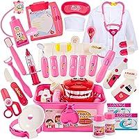 Buyger 35 Teile Arztkoffer Medizinisches Doktor Arztkittel Rollenspiel Spielzeug Geschenke Kinder(Rosa)