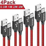 USB Typ C Kabel, GIANAC[4-Pack 0.3M 1M 2M 3M ] 3A Nylon geflochten USB C Ladekabel und Datenkabel Fast Charge Sync schnellladekabel für Samsung S10/S9/S8+, Huawei P30/P20/P10,Google Pixel, Xperia XZ