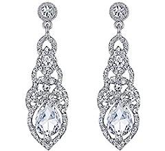 Pierced Antique Look Blue Crystal Tear Drop Diamante Dangle Earrings A323