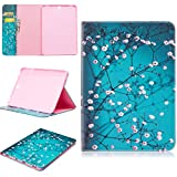 Galaxy TAB S3 9.7' Book Case, White Flower Pattern Wallet Pocket Leather Case with Credit Card Slots Protective Case for Samsung Galaxy TAB S3 9.7 Inch SM-T820/SM-825