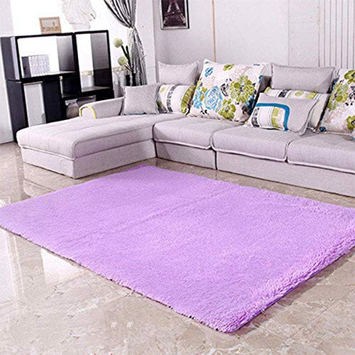 Shaggy Rugs Soft plain Thick Pile, alfombra antideslizante para el piso de la sala de estar, alfombra moderna y minimalista-purple_50 * 80cm, alfombra de sala de estar ultra suave que no se desprende