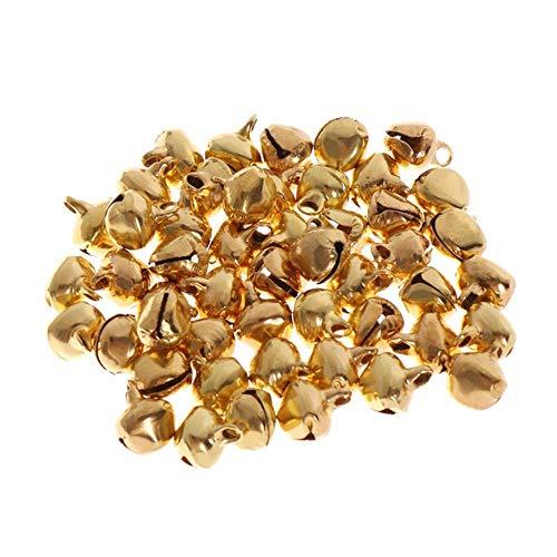 50st 6-14mm Jingle Bells losse kralen klein voor Festival partij decoratie/kerstboom decoratie/DIY ambachten accessoires, goud, 8mm