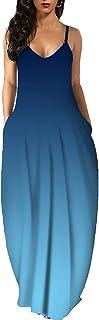 keepwo Women's V Neck Loose Maxi Dresses Ladies Sleeveless Cami Long Sundress Summer Casual Dress with Pockets