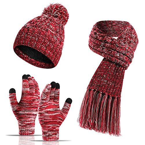 Linhuahua - Juego de bufanda, gorro y guantes para mujer, suave, elástico, cálido, de punto, gorra, manopla de gorro, bufanda, guantes térmicos, moda 3 en 1, juego de regalo frío de invierno