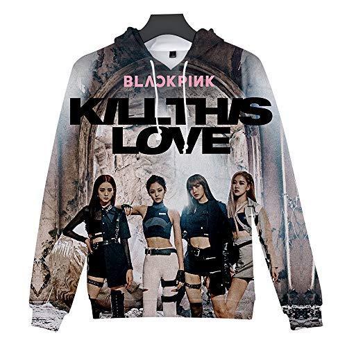 ZIGJOY Unisex Scena Musicale Coreana Kill This Love 3D Impreso Sudadera con Capucha K-Pop Pullover para Fans NO1258 XXS