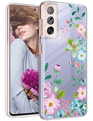 Funda para Samsung Galaxy S21 Plus, para mujeres y hombres, funda de silicona S21 Plus, resistente a los golpes, diseño de flores y flores, para Samsung Galaxy S21 Plus 5G