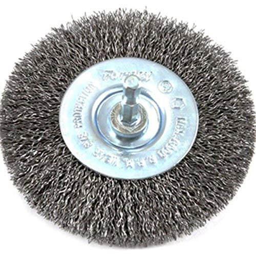Forney 72739 Wire Wheel Brush, Coarse Crimped with 1/4-Inch Hex Shank, 4-Inch-by-.012-Inch