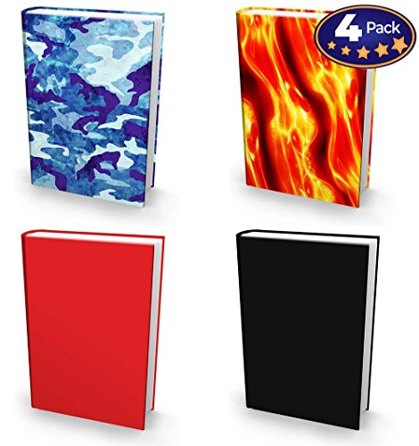 Book Sox Stretchable Book Cover: Boys 4 Print Value Pack. Fits Most Hardcover Textbooks up to 9 x 11. Adhesive-Free, Nylon Fabric School Book Protector. Easy to Put On Jacket. Wash & Re-Use