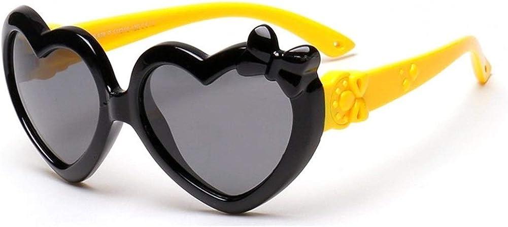 Fashion children's sunglasses boys and girls cute heart bow sunglasses 100% UV protection (Color : Black)