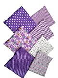 "levylisa 19.7"" x 19.7"" 7pcs Purple Floral Dot Stripe Cotton Fabric Fat Quarter Bundle Patchwork Quilting Fabric Sets Sewing Fabric Patchwork Flower Dots DIY Quilting Handmade Craft (Office Product)"