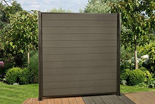 DeToWood Hochwertiger WPC Zaun mit Alu- Pfosten (240x7,5x6,5 cm zum einbetonieren) Maße:1,8 bis 21,6 Lfm, Modell: Klassik, Farbe: Granit/Grau (7.2)