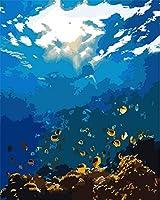 数字で描くキット海の魚Diyアクリル画キットブラシと顔料アートクラフトキャンバス絵画子供と大人のための16x20インチ