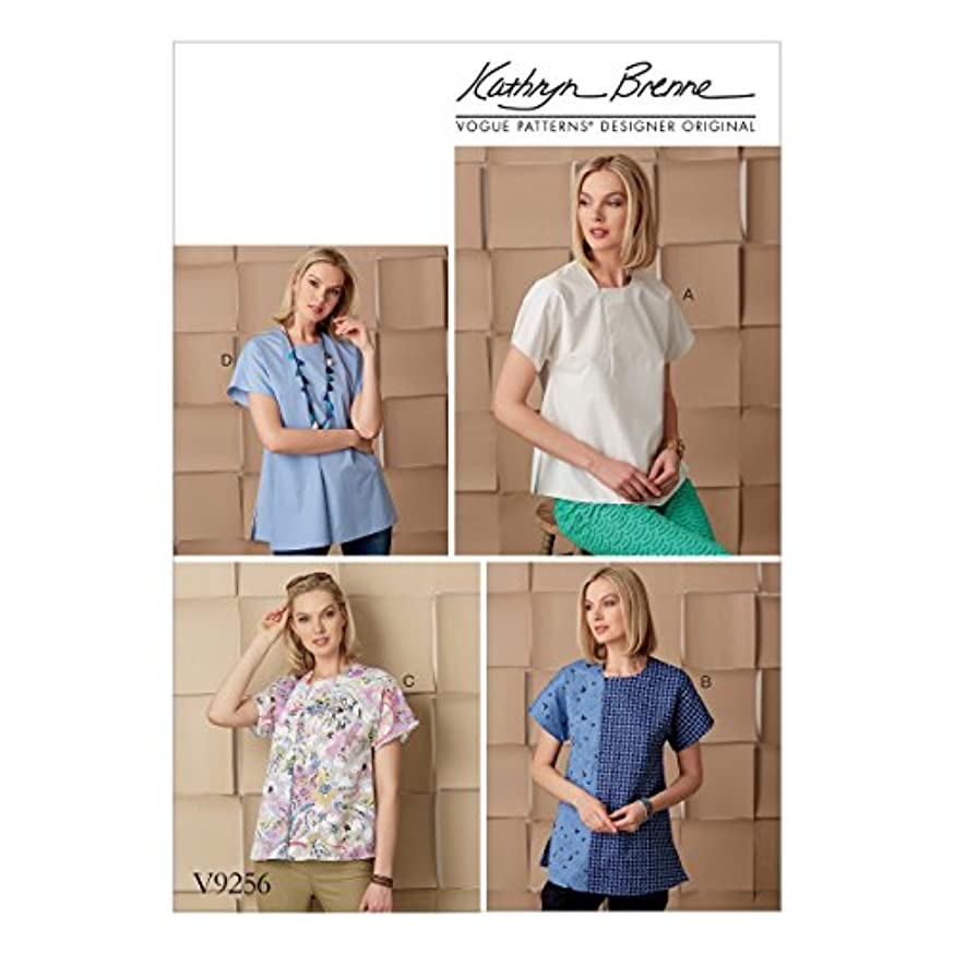 Vogue Patterns V9256 Misses' Tops with Invisible Zipper and Self-Fabric Underlay Sewing Pattern, Size ZZ (LRG-XLG-XXL)