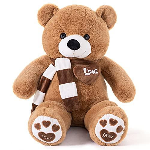 YunNasi Teddybär Groß Riesen Teddy Bär Braun 100cm Plüschtier Kuscheltier Stofftier mit Schal