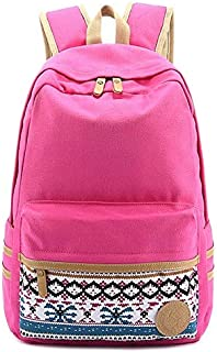 Lightweight Student Fashion Backpack for School canvas school bag Fashion Canvas School Backpack for Teenagers Girls/Boys BPTN11 (Pink)