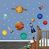 decalmile Pegatinas de Pared Planetas Sistema Solar Vinilos Decorativos Espacio Exterior Cohete Búho Adhesivos Pared Dormitorio Chico Cuarto de Jugar