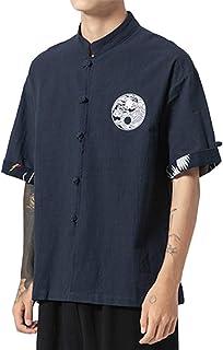 GUOCU Hombres Camisa Japonés Cardigan Yukata Estilo Kimono con Bordado Vintage Holgado Casual Camiseta con Hebilla