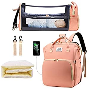 【Large Capacity with Compartments】Size: 12.8×8.0×16.2 Inch. The baby diaper bag backpack has 15 pockets for baby boy or girl. Item can hold all the daily necessities of your child, such as diapers, bibs, feeding bottles and other baby toiletries. The...