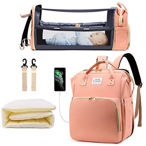 Diaper Bag Backpack with Extendable Folding Crib, Nappy Bag with Changing...