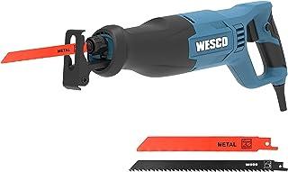 Reciprocating Saw, WESCO 800W Recip Saw, 2700SPM Variable Speed, 20mm Stroke Length, Tool-Free Blade Change, 2 Blades Elec...