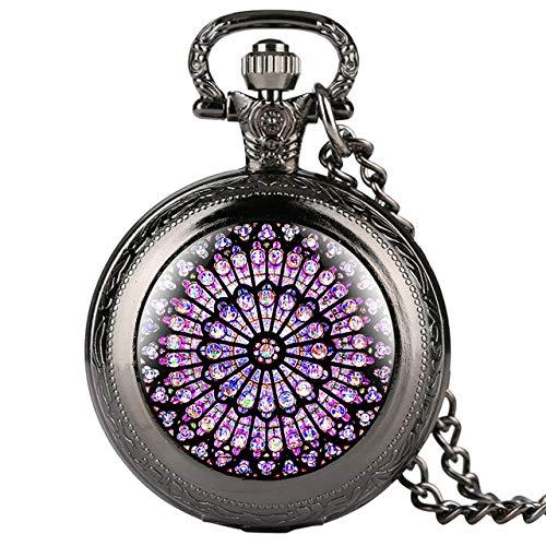 FEELHH Reloj De Bolsillo De Cadena Vintage,El Rosetón De Cuarzo Negro Exquisito Reloj Colgante Collar con Cadena Regalos Regalos para Hombres Mujeres