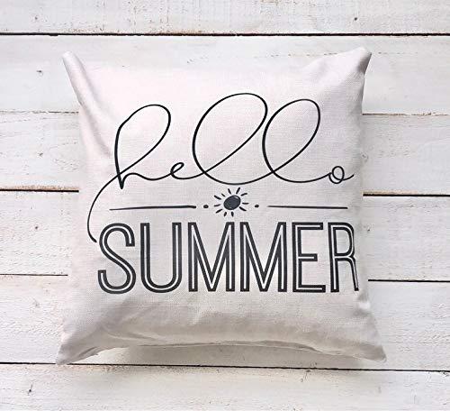 Wini2342ckey Hello Summer - Funda de almohada para casa de campo, almohada de moda, almohada para exteriores