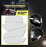 Yellow Bear© Classic 4 White, kit di 4 adesivi retrò riflettenti 3M Scotchlite™ Materiale bianco per casco moto, taglie omologate