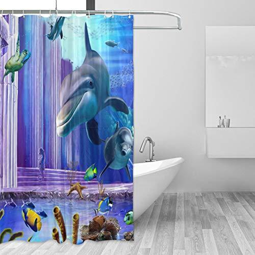 Emoya Badezimmer-Vorhang Ocean Delfin Hai Unterwasser 3D Polyester Stoff Wasserdicht Badvorhänge antibakteriell Duschvorhang mit Haken 180 x 180 cm