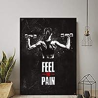 キャンバスアートパネルワークアウトポスターホームジムの装飾動機付けの壁アートパネル女性フィットネスポスターセクシーなポスターインスピレーションを与えるポスタージムの壁のポスター50x70cm /フレームなしU68