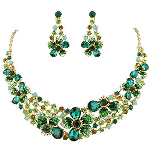EVER FAITH Collana e Orecchini da Donna, Cristallo Austriaco Elegante Sposa Primavera Fiore Parure Gioielli Verde Smeraldo