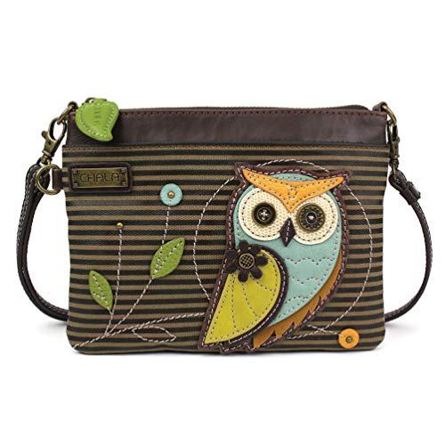 Chala Mini Crossbody/Purse with Convertible Strap Stylish, Compact, Versatile - Owl Olive Stripe