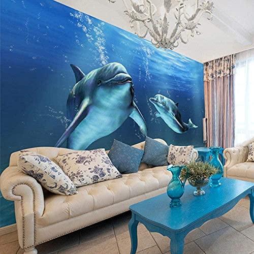 Carta da parati 3D foto delfino grande murale camera da letto soggiorno TV sfondo carta da parati decorativa in seta-280X200cm