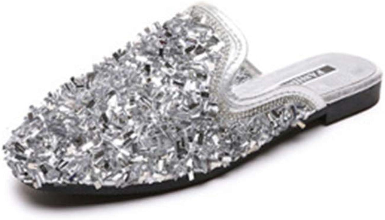 FLourishing Womens Glitter Rhinestone Mule Sandals Slides Backless Square Toe Flat Slip On Loafers